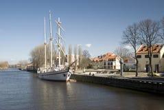 Barco de navigação Meridianas, símbolo de Klaipeda Fotos de Stock Royalty Free