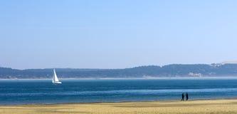 Barco de navigação na bacia de Arcachon Imagem de Stock Royalty Free