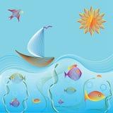 Barco de navigação no oceano e no mundo subaquático Imagem de Stock