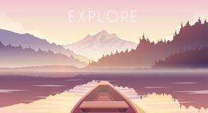 Barco de navigação Paisagem da montanha ilustração stock