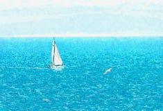 Barco de navigação que flui no mar aberto, aquarela pintada ilustração royalty free