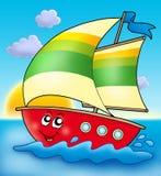 Barco de navigação dos desenhos animados com por do sol Fotografia de Stock Royalty Free