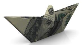 Barco de papel de un billete de banco americano Fotografía de archivo libre de regalías