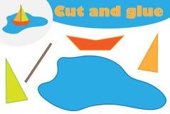 Barco de papel en historieta del charco, juego de la educación para el desarrollo de niños preescolares, tijeras del uso y pegame ilustración del vector