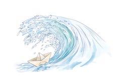 Barco de papel que enfrenta um tsunami Imagens de Stock