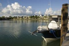 Barco de pesca azul Foto de archivo libre de regalías