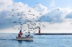 Barco de pesca con las gaviotas y x28; Sea& báltico x29; Fotografía de archivo