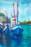 Barco de pesca da pintura a óleo na lona perto da ponte ilustração stock
