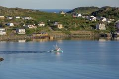 Barco de pesca de Twillingate, mañana reservada Fotos de archivo libres de regalías