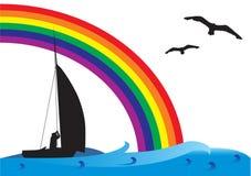 Barco de pesca en el mar Libre Illustration