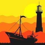 Barco de pesca en el mar y el faro ilustración del vector