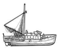 Barco de pesca, ilustração do navio, desenho, gravura, tinta, linha arte, vetor ilustração royalty free