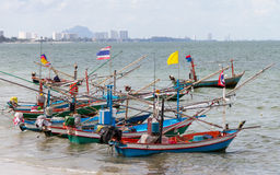 Barco de pesca litoral Fotografia de Stock