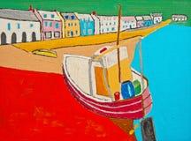 Barco de pesca na praia: petróleo na lona ilustração do vetor