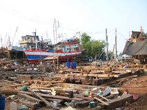 Barco de pesca no estaleiro Foto de Stock