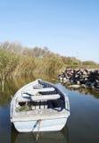 Barco de pesca no lago Balaton no outono Foto de Stock Royalty Free