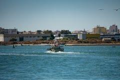 Barco de pesca que retorna ao porto no Algarve, Portugal imagem de stock