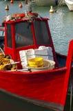 Barco de pesca rojo Imagen de archivo libre de regalías