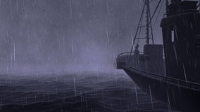 Barco de pesca, tormenta con los relámpagos, mosca del océano de la cámara libre illustration