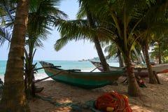Barco de pesca tradicional entre as palmas, Sri Lanka de Oruwa fotos de stock royalty free