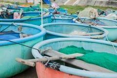 Barco de pesca tradicional redondo Vietnam imagen de archivo libre de regalías