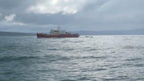 Barco de pesca velho no mar de Barents perto do litoral do russo, tiro épico no dia tormentoso video estoque