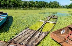 Barco de pesca viejo en un río fotografía de archivo libre de regalías