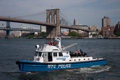 Barco de policía de NYC Imágenes de archivo libres de regalías