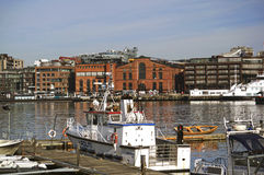 Barco de policía en el puerto de Oslo, Noruega Fotografía de archivo libre de regalías