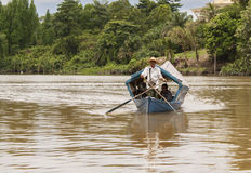 Barco de río tradicional Kuching, Sarawak Foto de archivo