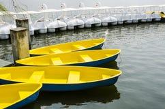 Barco de Rowing amarillo Fotografía de archivo libre de regalías