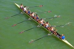 Barco de rowing ocho en Sevilla, España imagen de archivo libre de regalías