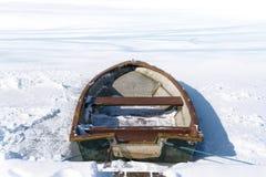 Barco de rowing viejo en el lago congelado en un día de invierno soleado, concep Foto de archivo