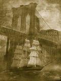 Barco de vela bajo el puente de Brooklyn stock de ilustración