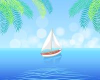 Barco de vela con la navegación blanca de la lona en aguas profundas libre illustration