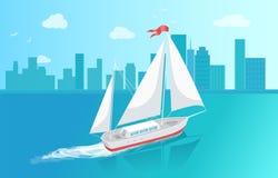 Barco de vela con la navegación blanca de la lona en aguas profundas stock de ilustración