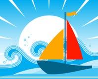 Barco de vela con las ondas Fotografía de archivo