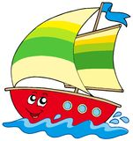 Barco de vela de la historieta Imagenes de archivo