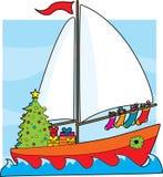Barco de vela de la Navidad stock de ilustración