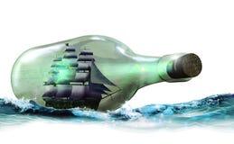 Barco de vela en botella libre illustration