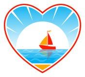 Barco de vela en corazón Fotos de archivo libres de regalías