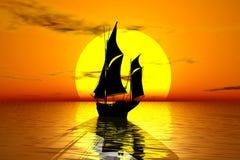 Barco de vela en la puesta del sol Fotografía de archivo