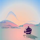 Barco de vela en la puesta del sol stock de ilustración