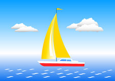 Barco de vela en un mar ilustración del vector
