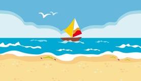 Barco de vela en un mar azul Imágenes de archivo libres de regalías