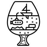 Barco de vela en una copa ilustración del vector