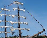 Barco de vela Masted tres de México en Havana Harbour Fotos de archivo libres de regalías