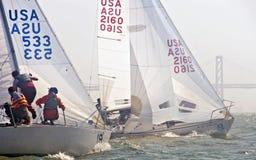Barco de vela que compite con en la bahía Imagenes de archivo
