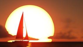Barco de vela y puesta del sol Foto de archivo