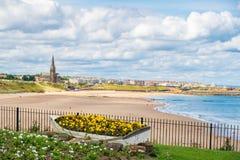 Barco decorativo que contém flores, com litoral do ` s de Tynemouth mim imagens de stock royalty free